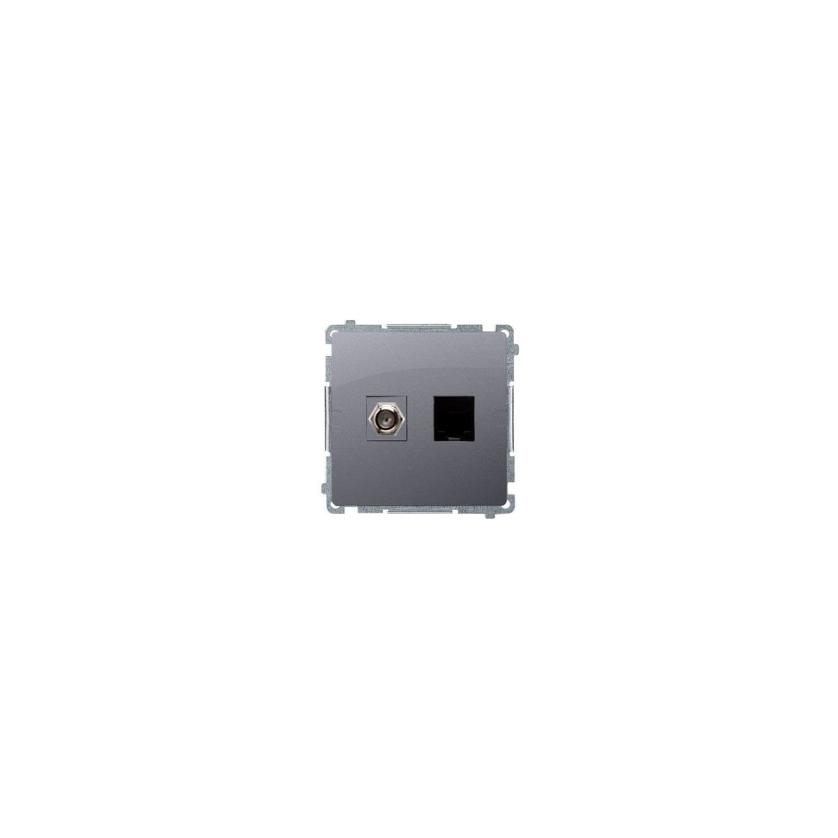 "Gniazdo antenowe typu ""F"" + komputerowe RJ45 kat.6 srebrny mat, metalizowany"