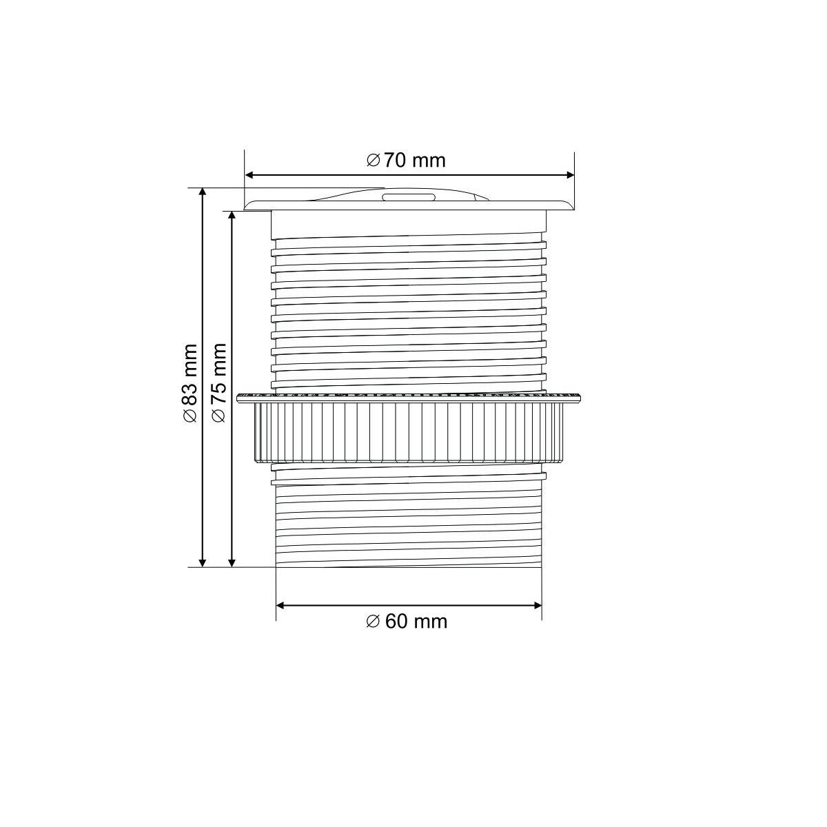 Mini kolumna blatowa 1x230V + ładowarka USB (OR-AE-1373)
