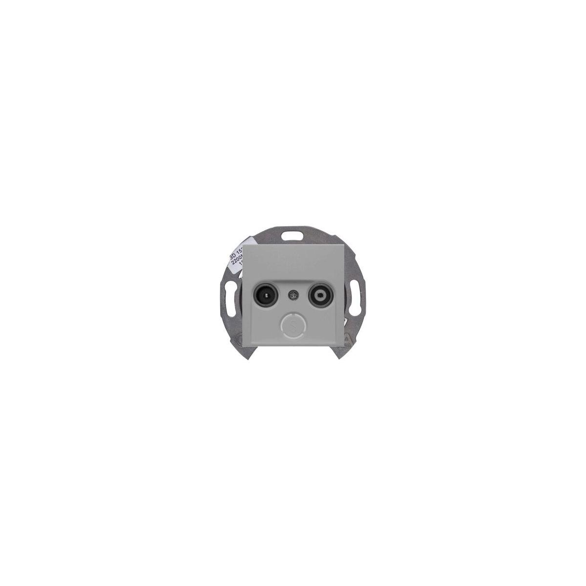Gniazdo RTV przelotowe Berker B.1/B.3/B.7 aluminium mat (1x53455201+1x12031404)