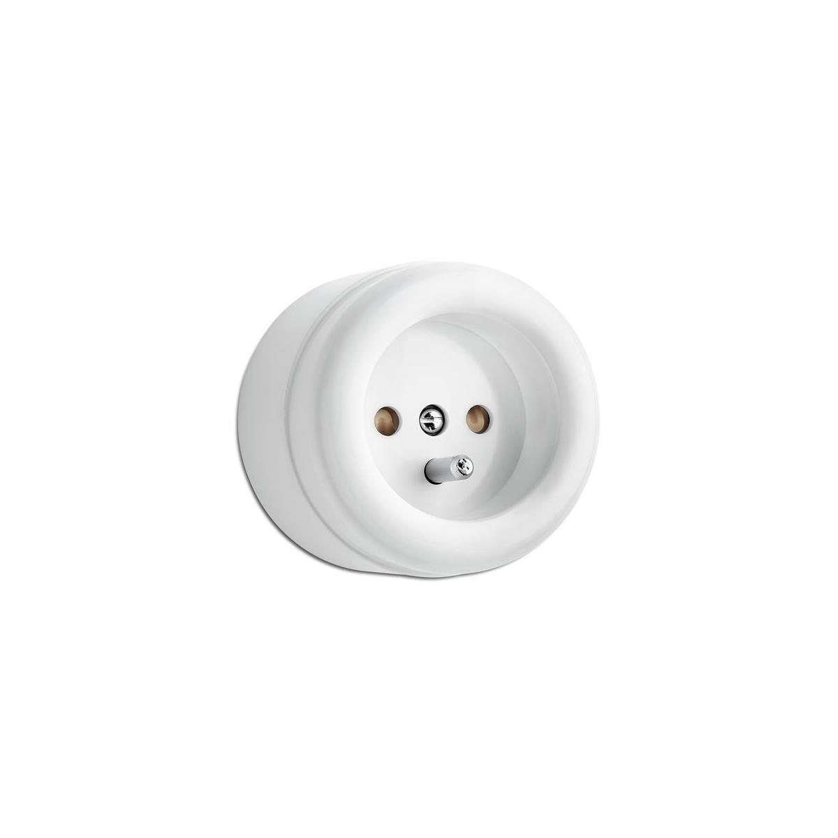 Gniazdo natynkowe z/u THPG duroplast  biały (100062)
