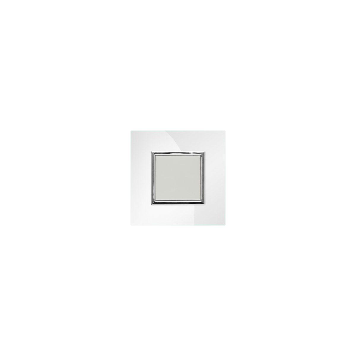 Wyłącznik pojedynczy KOS Dante z ramką szklaną pearl (450411+4504181)