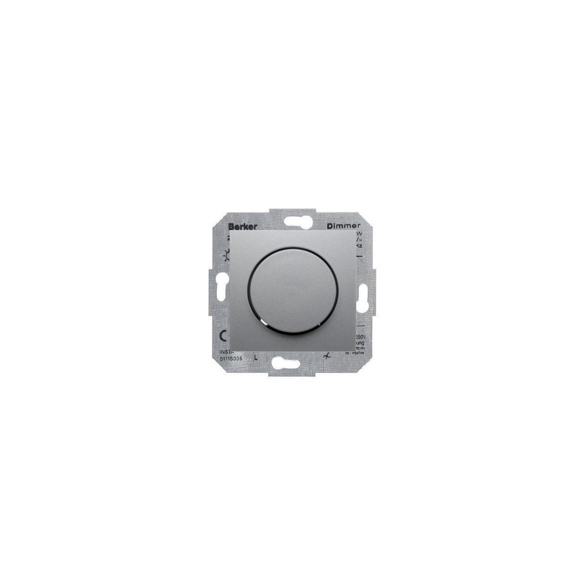 Ściemniacz obrotowy 60-400W Berker B.1/B.3/B.7 aluminium mat (281901+11371404)