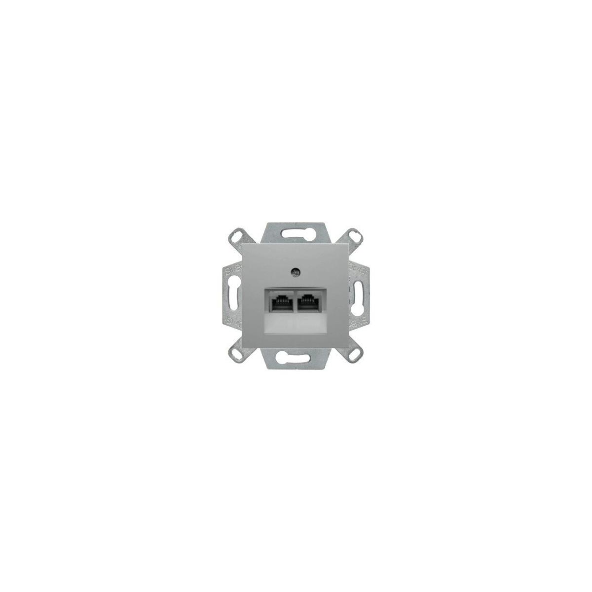 Gniazdo tel. podwójne  Berker B.1/B.3/B.7 aluminium mat (534539+14091404)