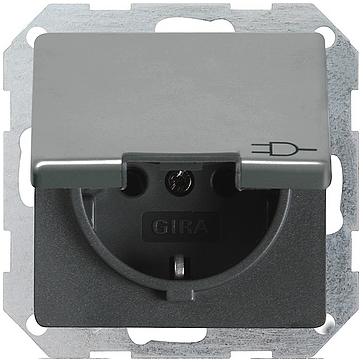 Gniazdo z/u i klapką E22 metalowe