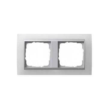 Ramka podwójna EVENT OPAQUE do mechanizmów w kolorze aluminiowym