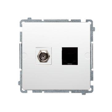 """Gniazdo antenowe typu """"F"""" + RJ45 kat.6 BASIC -biały"""