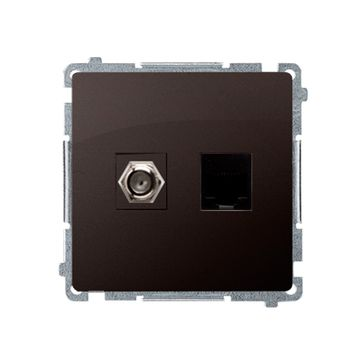 """Gniazdo antenowe typu """"F"""" + RJ45 kat.6 BASIC -czekoladowy mat, metalizowany"""