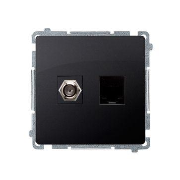 "Gniazdo antenowe typu ""F"" + RJ45 kat.6 BASIC -grafit mat, metalizowany"