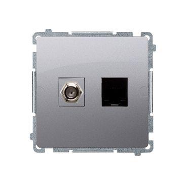 """Gniazdo antenowe typu """"F"""" + RJ45 kat.6 BASIC -inox, metalizowany"""
