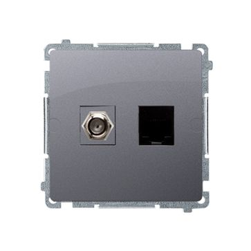 "Gniazdo antenowe typu ""F"" + komputerowe RJ45 kat.6 BASIC srebrny mat, metalizowany"