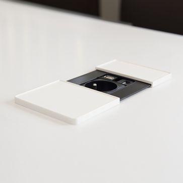 Gniazdo blatowe Versapad ASA 1x230V +RJ45 kat. 6 + USB biały