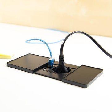 Gniazdo blatowe Versapad ASA czarny 230V+2x USB ładowarka
