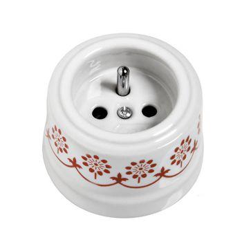 Gniazdo z/u natynkowe Fontini Garby biała porcelana / brązowy dekor