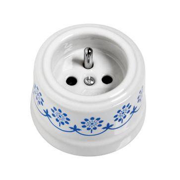 Gniazdo z/u natynkowe Fontini Garby biała porcelana / niebieski dekor