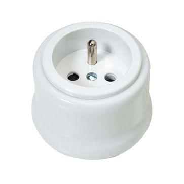Gniazdo z/u natynkowe Fontini Garby biała porcelana / plastik