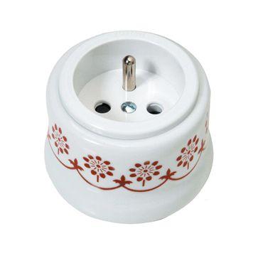 Gniazdo z/u natynkowe Fontini Garby biała porcelana / plastik / brązowy dekor