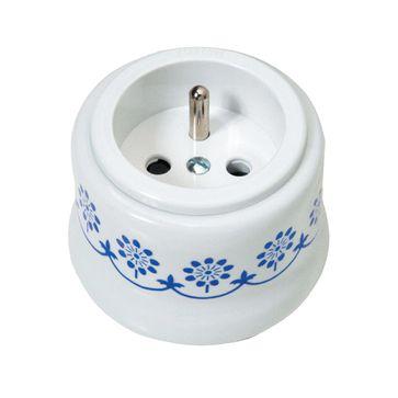 Gniazdo z/u natynkowe Fontini Garby biała porcelana / plastik / niebieski dekor