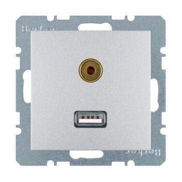 Gniazdo USB/3.5 mm audio Berker B.1/B.3/B.7 aluminium mat