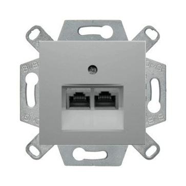 Gniazdo komp. podwójne 5e Berker B.1/B.3/B.7 aluminium mat