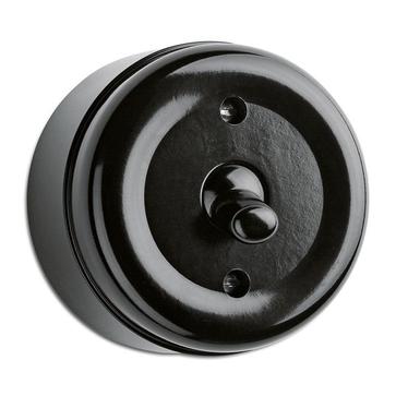 Wyłącznik pojedynczy / schodowy THPG natynkowy bakelit czarny (184198)