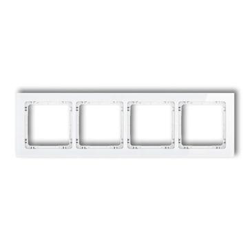 Ramka poczwórna efekt szkła Karlik DECO biały połysk