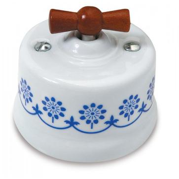 Wył. poj. natynkowy Fontini Garby porcelana / pokrętło drewno - zdobienie niebieskie