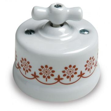 Wył. poj. natynkowy Fontini Garby porcelana - zdobienie brązowe