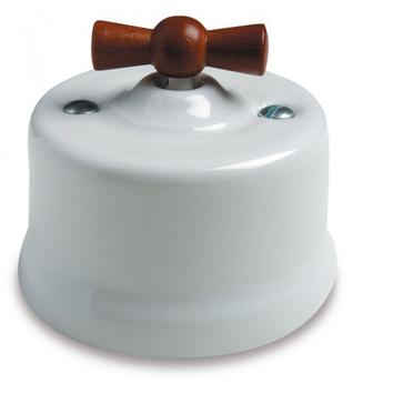 Wył. poj natynkowy Fontini Garby porcelana / pokrętło drewno