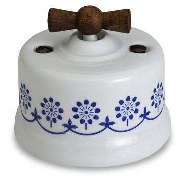 Wył. poj. natynkowy Fontini Garby porcelana / pokrętło stare drewno / zdobienie niebieskie