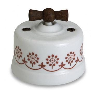 Wył poj. natynkowy Fontini Garby porcelana / pokrętło stare drewno / zdobienie brązowe