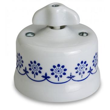 Wył. poj. natynkowy Fontini Garby porcelana / pokrętło retro / zdobienie niebieskie