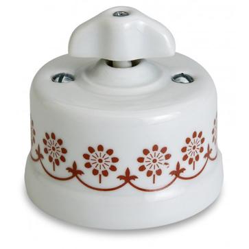 Wył. poj. natynkowy Fontini Garby porcelana / pokrętło retro / zdobienie brązowe