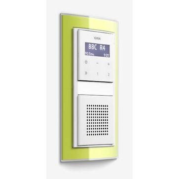 Radio LCD GIRA podtynkowe białe + ramka EVENT zielona