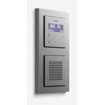 Radio LCD GIRA podtynkowe + ramka E2 aluminium