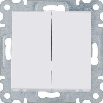 Wyłącznik podwójny Hager-Polo LUMINA 2 biały