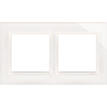 Ramka podw. SIMON 54 NATURE szklana biała perła