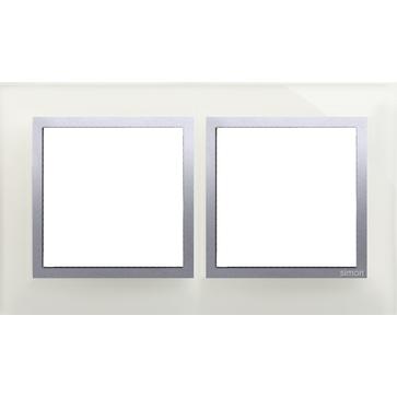 Ramka podw. SIMON 54 NATURE szklana srebrna mgła