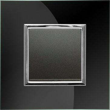Wyłącznik pojedynczy KOS Dante z ramką szklaną czarną (1x4560 11+1x4509 181)