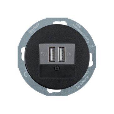 Gniazdo USB ( ładowarka) Berker R.classic czarny połysk