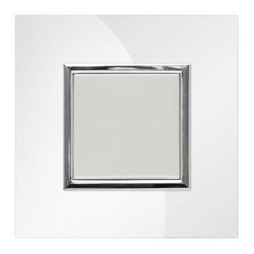 Wyłącznik pojedynczy KOS Dante z ramką szklaną pearl