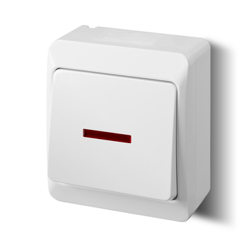 Wyłącznik pojedynczy/schodowy natynkowy HERMES podświetlany
