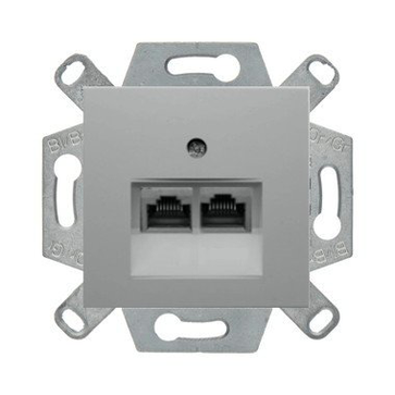 Gniazdo tel. podwójne Berker B.1/B.3/B.7 aluminium mat