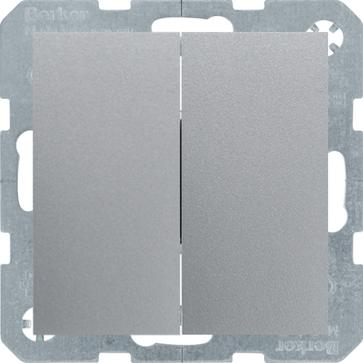 Wyłącznik podwójny Berker B.1/B.3/B.7 aluminium mat