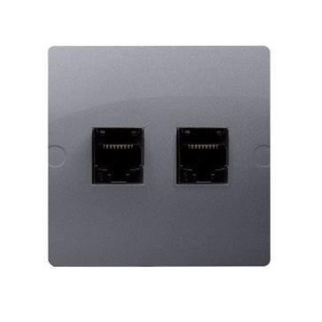 Gniazdo komp. 2xRJ45 BASIC Metalizowany Inox