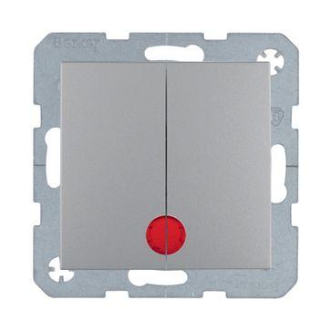 Wyłącznik podwójny podśw. B.Kwadrat/B.3/B.7- aluminium mat